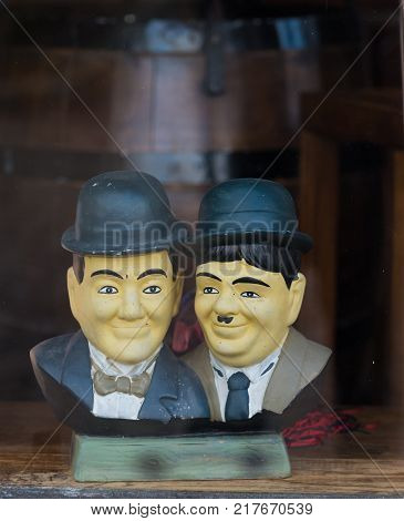 OOTMARSUM NETHERLANDS - DECEMBER 3 2016: Bust of Laurel and Hardy in a shop window