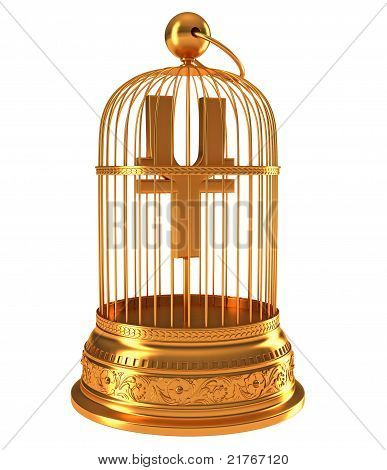 Yen Currency Symbol In Golden Birdcage
