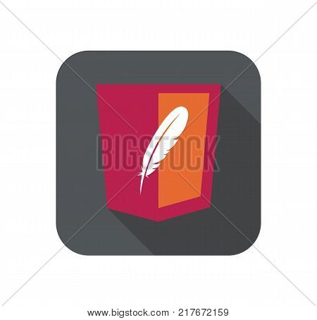 vector web development red shield sign - html5 styled badge with feather shape. isolated icon on white background