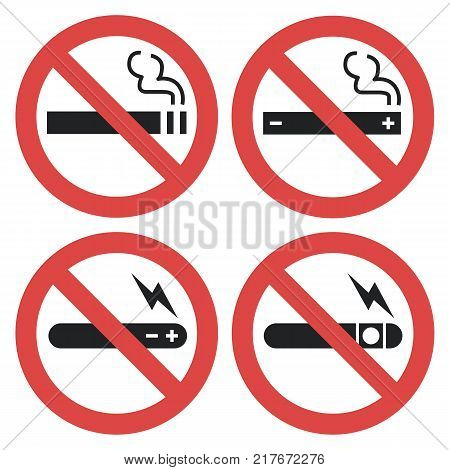 Vector symbol set - vaping forbidden, smoking electronic cigarette not allowed isolated on white background