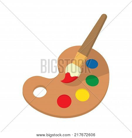 Palette with Paint brush Icon with Long Shadow. Painting and Drawing Tool. Vector illustrations