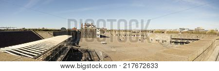 Halifax Nova Scotia Canada - October 28 2017 : Tourist in panorama of courtyard in Halifax Citadel Nova Scotia Canada.