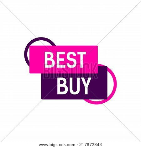 Best buy lettering. Vivid pink and violet banner. Inscription can be used for leaflets, posters, banners, tags.