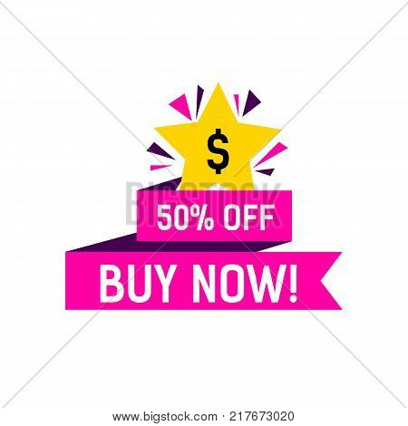 Buy now, fifty percent off lettering on pink ribbon with star. Inscription can be used for leaflets, posters, banners, tags.