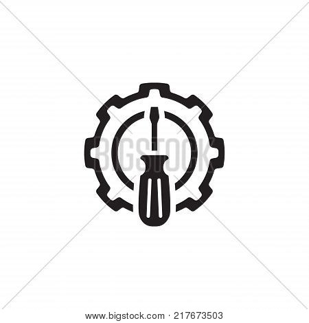 Fine Tuning Icon. Gear and Screwdriver. Service Symbol. Flat Line Pictogram. Isolated on white background.