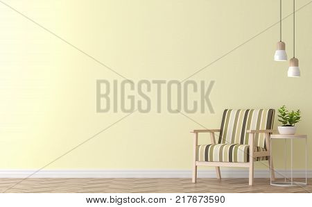 Modern vintage living room with yellow wall 3d rendering image.There are yellow paint wall and wood floor Funished with vintage wood chair