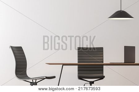 Modern working room interior minimal style image 3d rendering.There are empty white wallblack chair and wood desk