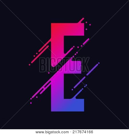 Alphabet letter E with liquid splash and drops, abstract colorful ink abc, stylized dynamic paint trail font. Vector