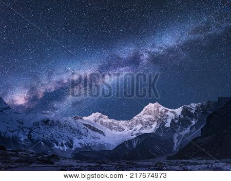 Milky Way. Fantastic Night Landscape With Bright Milky Way