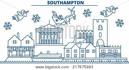 Great Britain, Southampton winter city skyline. Merry Christmas, Happy New Year decorated banner with Santa Claus.Winter greeting line card.Flat, outline vector. Linear christmas snow illustration