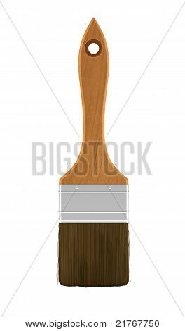 Housework: Wooden Paintbrush Isolated