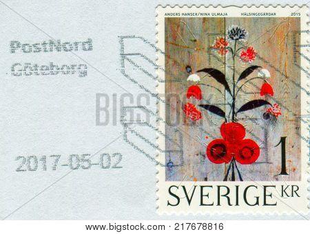 GOMEL, BELARUS, 6 DECEMBER 2017, Stamp printed in Sweden shows image of the Halsingegardar, circa 2015.