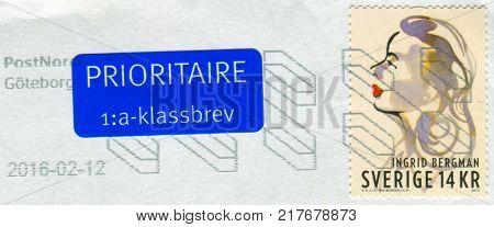 GOMEL, BELARUS, 6 DECEMBER 2017, Stamp printed in Sweden shows image of the Ingrid Bergman, circa 2015.