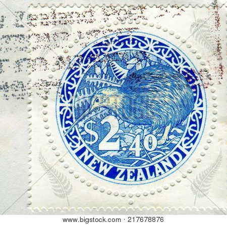 GOMEL, BELARUS, 5 DECEMBER 2017, Stamp printed in New Zealand shows image of the Kiwi or kiwis are flightless birds native to New Zealand, in the genus Apteryx and family Apterygidae, circa 2017.