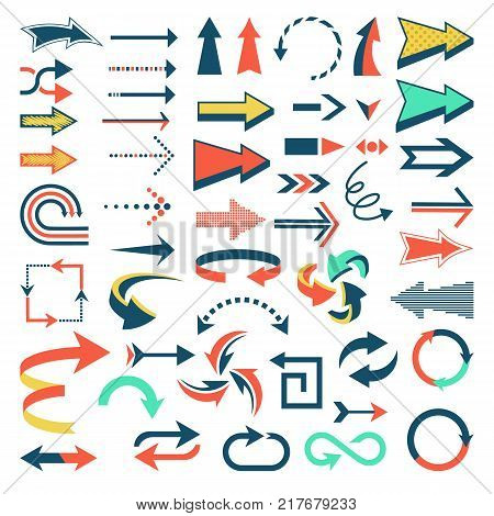 Arrow icons vector set arrowheads direction or cursed arrow design and web graphic banner collection illustration isolated on white background.