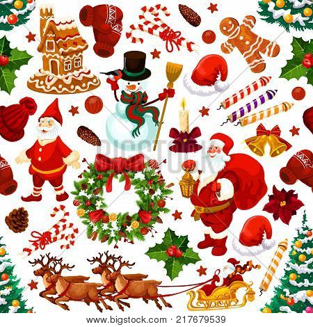 Christmas holidays decorations seamless pattern. Vector background of Santa gifts on reindeer sleigh or New Year season symbols of Christmas tree ornaments, snowman and gnome or gingerbread cookie
