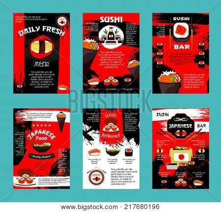 Japanese cuisine restaurant and sushi bar menu template. Salmon fish roll, seafood sushi set with shrimp, egg and caviar, rice and seaweed, meat soup ramen and takeaway box of noodle with chopsticks