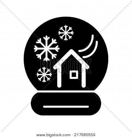 Glass snow ball with house and winter landscape. Snow globe black silhouette - Christmas decoration or gift. Waterglobe in material design- transparent sphere, New Year giveaway or souvenir. EPS10