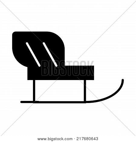 Santa Sleigh icon. Christmas snow sledge with gifts present boxes. Flat monochrome simple minimal style. Design element for winter holiday season new year event. Vector illustration