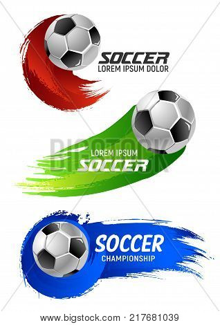 Soccer ball banner of football sport game template. Flying ball with motion trail of colorful brush stroke for soccer championship cup or football club match event announcement design