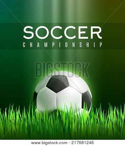 Soccer sport championship 3d poster. Football play field with green grass and soccer ball for football sport game competition event and soccer tournament match announcement banner design