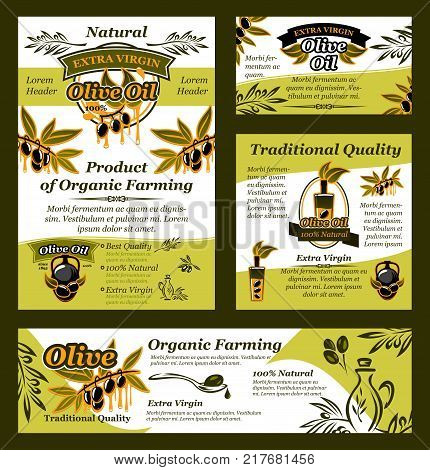 Olive oil and fruit banner set for organic farming product template. Bottle of extra virgin oil poster, decorated with black and green fruit, oil drop and splash, olive tree branch and ribbon banner