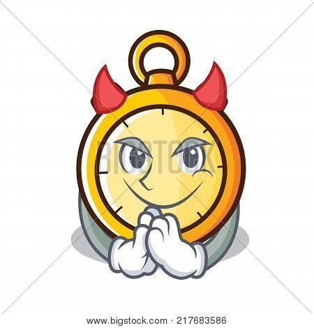 Devil chronometer character cartoon style vector illustration