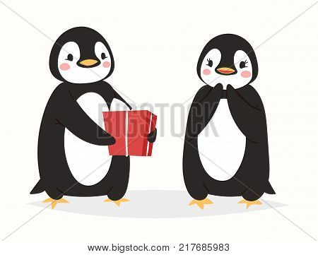 Christmas cute penguin vector character cartoon bird celebrate Xmas poses - play, walc, fly and happy penguin face smile in Santa red hat cute birds posing. Christmas holiday penguins