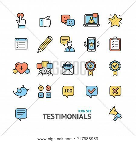 Testimonial, Feedback and Review Signs Color Thin Line Icon Set Support Quality Marketing Service Satisfaction Customer. Vector illustration