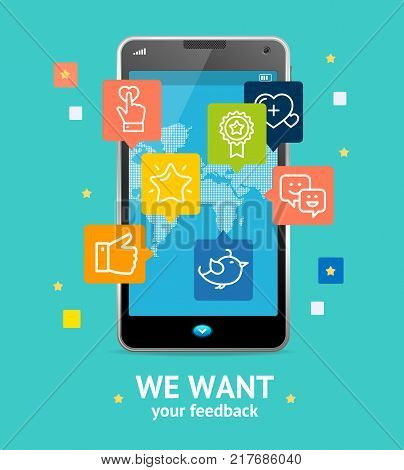 We Want Feedback Online Service Concept with Mobile Smartphone on a Blue Background Screen Device Phone. Vector illustration