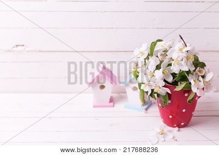Tender apple tree flowers in red cup and two decorative bird houses on white wooden background. Selective focus. Place for text.