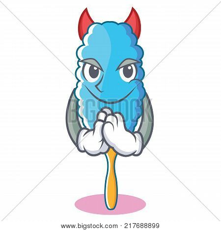 Devil feather duster character cartoon vector illustration