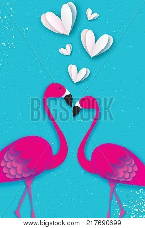 Exotic birds love. Flamingo couple. Beautiful pink birds. Tropical Jungle. Palm leaves. Love with paper cut white hearts. Romantic Invitation card. Happy Valentine's day. 14 February. Vector