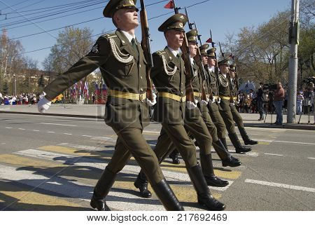 Tyumen, Russia - May 9. 2009: Parade of Victory Day in Tyumen. Soldiers of guard of honor march on parade