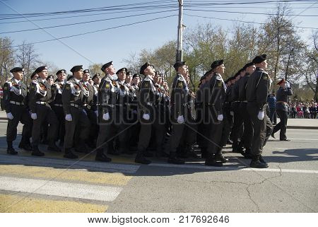 Tyumen, Russia - May 9. 2009: Parade of Victory Day in Tyumen. Cadets of police academy marching on parade
