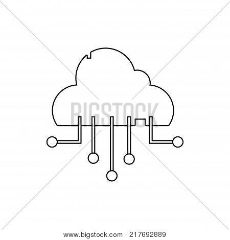 line data cloud network connection server vector illustration