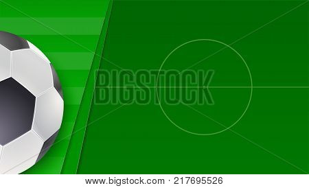 Soccer or european football green field. Horizontal banner for football competition or sport events with ball and field, top view. 3D illustration, template for cover, print design, posters.
