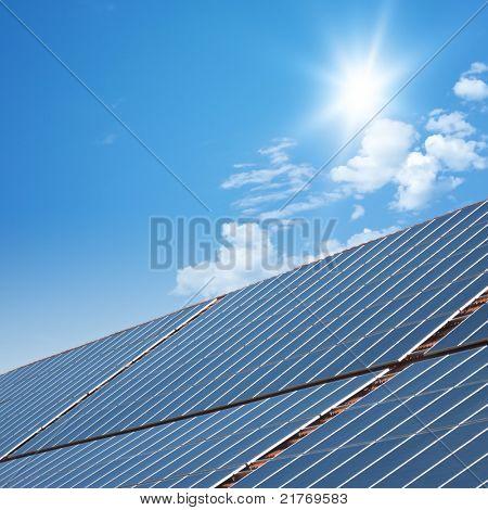 nice solar panels with blue sunny sky background