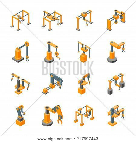 Conveyor Machines Robotic Hand Icons Set Isometric View Industry Technology Concept for Web Design. Vector illustration of Robot Arm