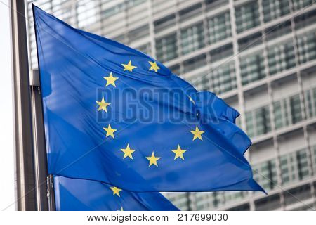 European Commission EU flag in Brussels