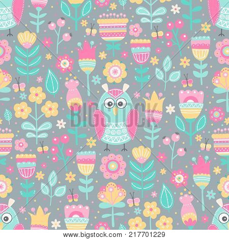 Vector seamless pattern with owls and flowers. Cute childish background with hand drawn birds plants and berries. On gray backdrop. Pastel colors.