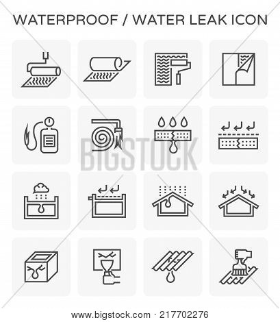 Waterproof and water leak icon set design.