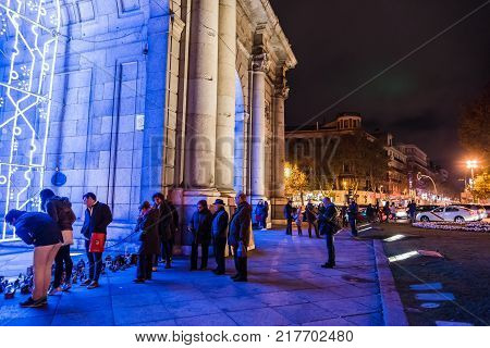Madrid, Spain - December 8, 2017: Nativity scenes placed by anonymous people in Puerta de Alcala as the Mayor of Madrid, Manuela Carmena , has not allowed the traditional Nativity Scene