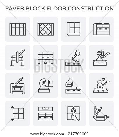 Paver block floor and construction work icon set.
