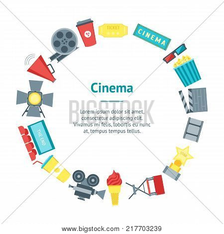 Cartoon Cinema Movie Banner Card Circle Symbol Film and Cinematography Flat Style Design. Vector illustration
