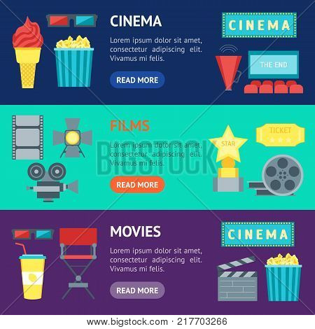 Cartoon Cinema Movie Banner Horizontal Set Symbol Film and Cinematography Flat Style Design. Vector illustration
