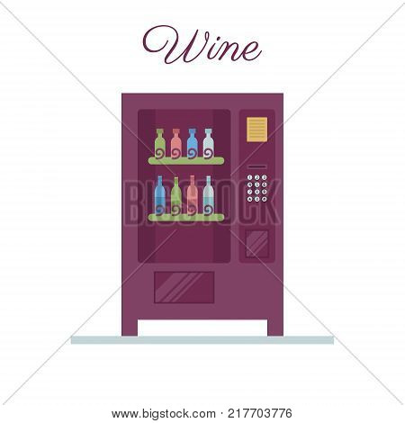 Vending machine. Wine vending in a flat vector. Business idea.
