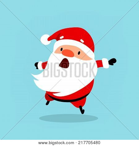Santa Claus runs quickly hurrying. Christmas vector illustration is suitable for New Year's corporate design advertising banners flyers flyers.Element from the New Year's collection of characters