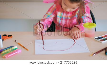 enthusiastic child girl draw inks artist concept. creative art process. childhood moments.