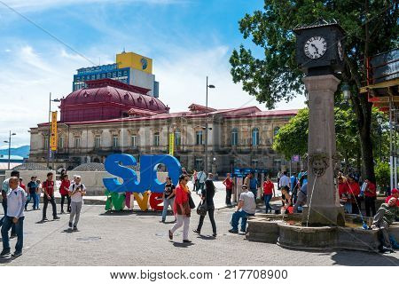 SAN JOSE COSTA RICA - November 12: Afternoon scene of the square in front of the famous National Theater of Costa Rica in San Jose in the night of Nov 12 2017.